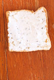 Sandwich from toast and soft cheese with herbs Royalty Free Stock Photo