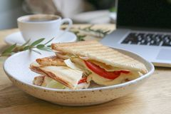 Sandwich with Mozzarella and Tomat Shallow DOF Royalty Free Stock Photo