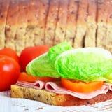 Sandwich, Tomaten und Brot lizenzfreie stockfotos