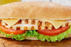 Sandwich with tomato and cheese grilled chicken Royalty Free Stock Image
