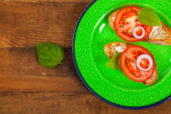Sandwich with Tomato and Cream Cheese and Basil Royalty Free Stock Photography