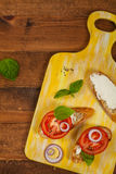 Sandwich with Tomato and Cream Cheese and Basil Stock Image