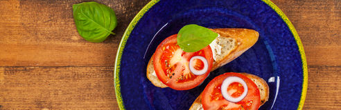 Sandwich with Tomato and Cream Cheese and Basil Stock Photo