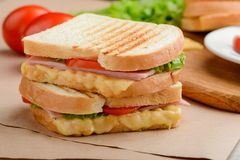 Sandwich with tomato, herbs, ham. And cheese. Crinchy crust with striped grill marks. Delicious meal for lunch royalty free stock photo