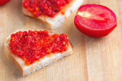 Sandwich with tomato hot spicy sauce Stock Photo