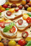 Sandwich with tomatoes, Basil and mozzarella. Toning. selective focus Royalty Free Stock Photo