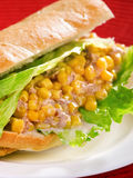 Sandwich with tuna and corn Royalty Free Stock Image