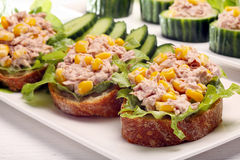 Sandwich with tuna and corn on white background Royalty Free Stock Photography