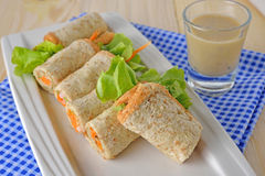 Sandwich tuna roll with Mayonnaise and sesame sauce Stock Image