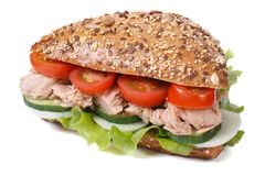 Sandwich with tuna and vegetables isolated on a white Stock Photos