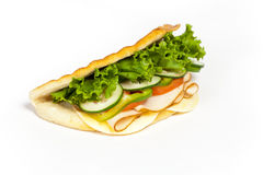 Sandwich. With turkey, tomato, cucumber stock images