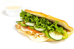 Sandwich. With turkey, tomato, cucumber royalty free stock photography