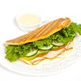 Sandwich. With turkey, tomato, cucumber royalty free stock photos