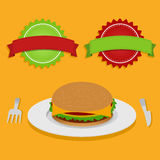 Sandwich and two labels Royalty Free Stock Image