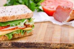 Sandwich und Bestandteile Nahrung Neues u. gesundes Lebensmittel Konzept Lizenzfreies Stockbild