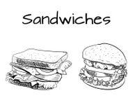 Sandwich- und Burgerentwurfszeichnung ENV 10 lizenzfreie abbildung