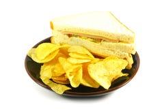 Sandwich und Chip-Mahlzeit kombiniert stockbild