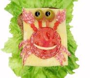Sandwich végétal créatif avec la saucisse d'american national standard de fromage Photo stock