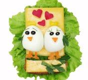 Sandwich végétal créatif avec la saucisse d'american national standard de fromage Images libres de droits
