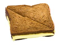 Sandwich van donker brood met kaas Royalty-vrije Stock Foto's