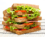 Sandwich with  vegetables and bacon on bamboo Stock Image