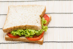 Sandwich with  vegetables on bamboo Stock Photos