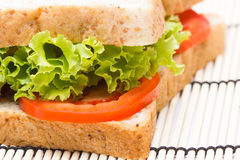 Sandwich with  vegetables on bamboo Royalty Free Stock Photo