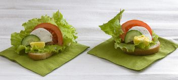 Sandwich with vegetables, cheese and egg. Milk, green salad, on a green napkin royalty free stock photography