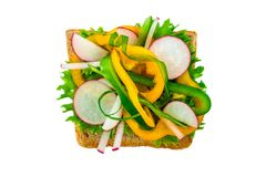 Sandwich with vegetables and radishes on isolated white background. Horizontal frame Royalty Free Stock Image