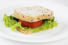 Sandwich with vegetables will satisfy hungry stomach. Zoomed sandwich with vegetables will satisfy hungry stomach Royalty Free Stock Photos