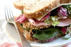 Sandwich vegetal ingredients with ham and cheese Stock Photography