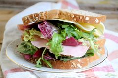 Sandwich vegetal ingredients with ham and cheese Royalty Free Stock Photography