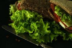 Sandwich vert frais avec l'obscurité de foyer sélectif de fromage de caviar et fondu Photographie stock