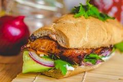 Sandwich vietnamien à Banh MI avec du jambon, le pâté, le cilantro, et la carotte photographie stock libre de droits