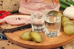 Sandwich and vodka Stock Photo