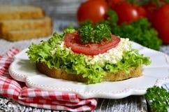 Sandwich vom Vollkornbrot mit Käse und Gemüse Lizenzfreies Stockfoto