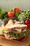 Sandwich voor Lunch met Ham Turkey Swiss Cheese Stock Fotografie