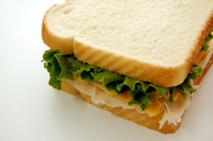 Sandwich on White. Turkey, lettuce and cheese sandwich on white bread on white background royalty free stock image