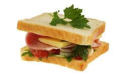 Sandwich on white Stock Images