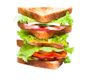Sandwich on the white background. Studio shoot Royalty Free Stock Photos