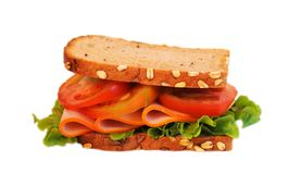 Sandwich on white background. Sandwich with ham isolated on white background Royalty Free Stock Photos