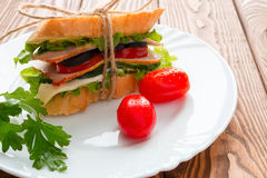 Sandwich with white bread parsley and red cherry tomatoes Royalty Free Stock Image