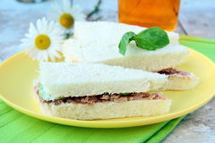 Sandwich of white bread with tuna Stock Images