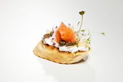 Sandwich with white cheese, salmon, radish and sprouts on the gr. Ey background Stock Photo