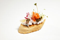Sandwich with white cheese, salmon, radish and sprouts on the wh. Ite background Royalty Free Stock Images