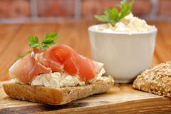 Sandwich with white cottage cheese and ham Royalty Free Stock Image
