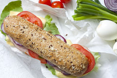 Sandwich on white paper stock image