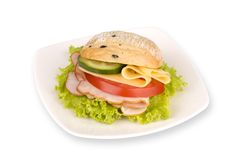 Sandwich on white plate. With path on white background Royalty Free Stock Images