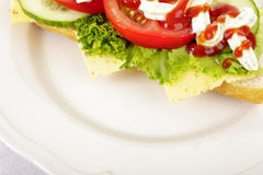 Sandwich on a white plate Royalty Free Stock Photography