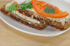 Sandwich on white plate Stock Images